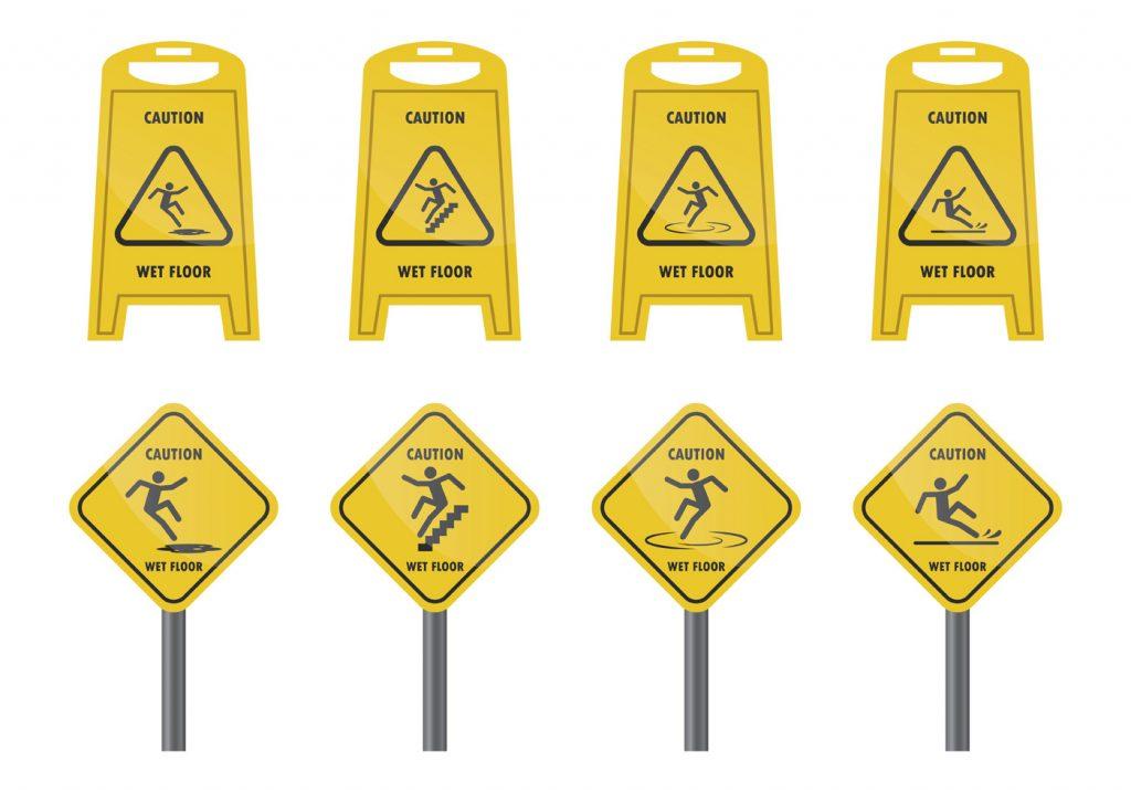 señales de piso mojado